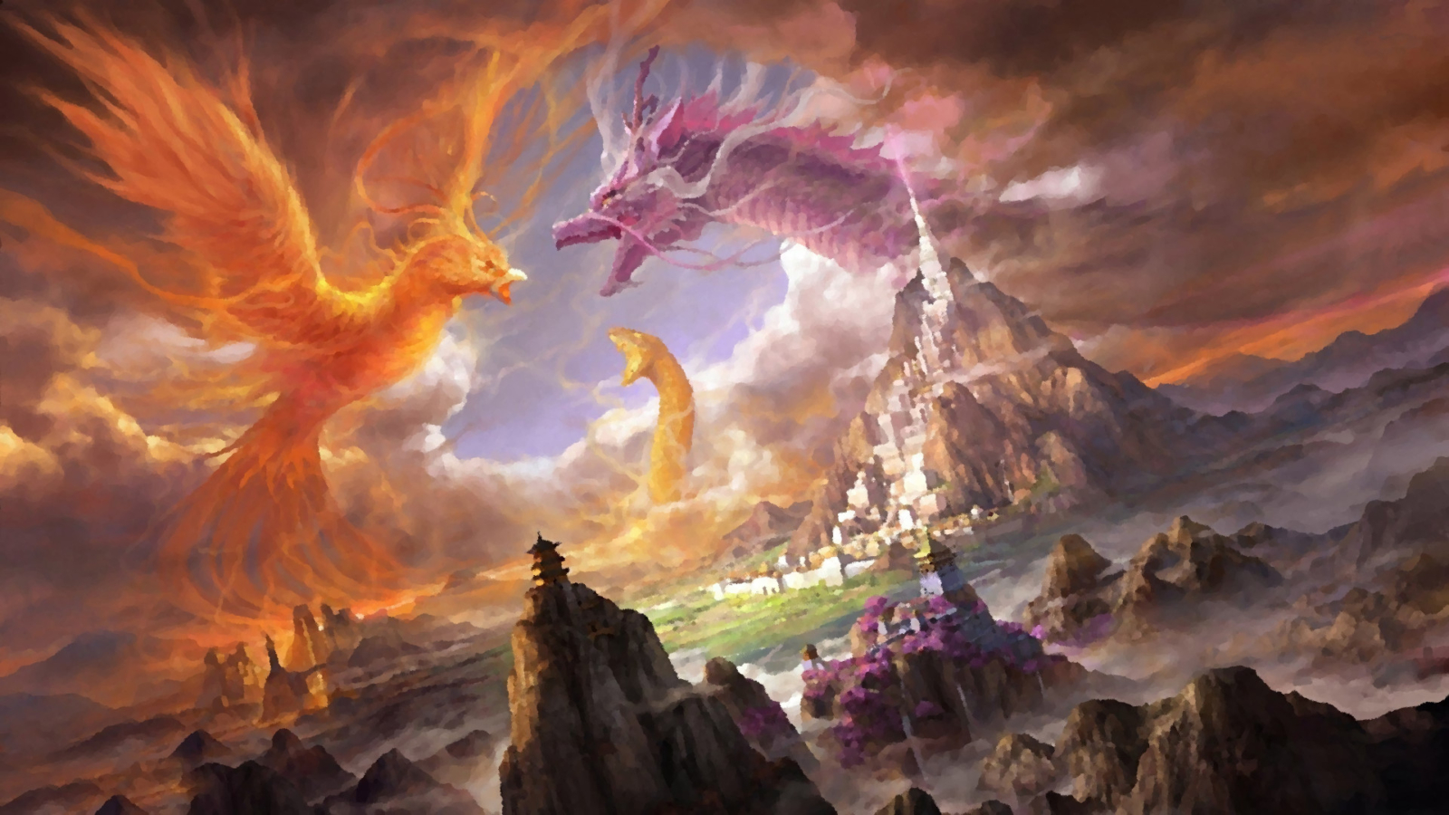 City, Castle, Mountain, Phoenix, Dragon, Snake