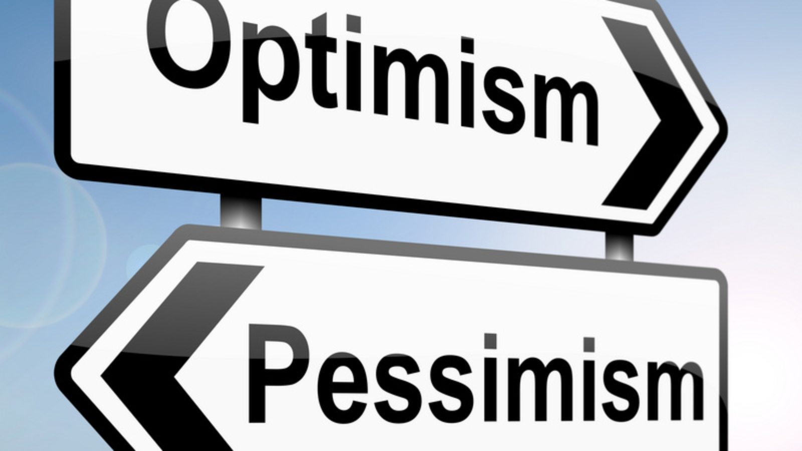 illustration depicting a sign post with directional arrows containing a pessimist or optimist concept. Blurred background.